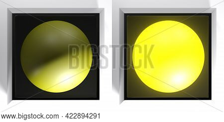 Set Of Black Checkboxes With Yellow Light, On And Off - 3d Rendering Illustration