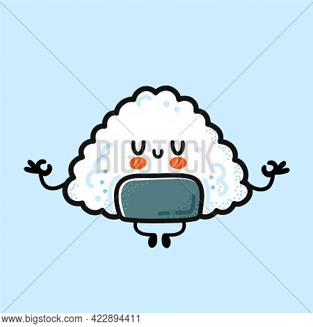 Cute Funny Onigiri Meditate In Yoga Pose. Vector Hand Drawn Cartoon Kawaii Character Illustration Ic