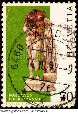 Moscow, Russia - June 06, 2021: Stamp Printed In Switzerland Shows Roman Copy Of Aphrodite Of Cnidus