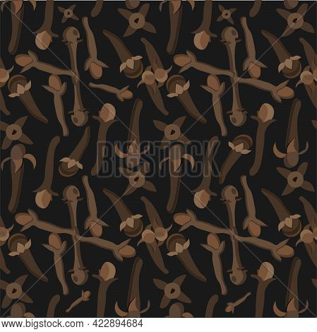 Cloves Seamless Pattern Species On Black Stock Vector Illustration For Web, For Print, For Fabric Pr