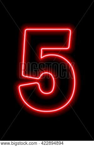 Neon Red Number 5 On Black Background. Learning Numbers, Serial Number, Price, Place.