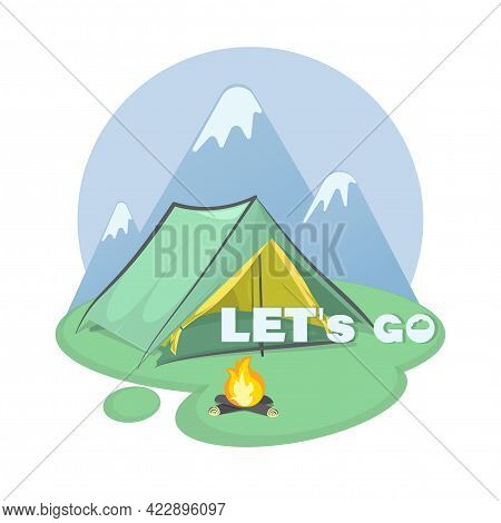 Tourist Tent. Parking. Mountain Tourism. Vector Icon, Emblem. Invitation Will Go To The Mountains.