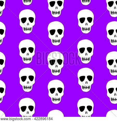 Skull Pattern. Skulls On A Purple Background.vector Illustration. Bright And Fashionable Design For