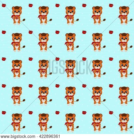 Pattern From The Illustration Of A Tiger Cub With Cocoa And A Scarf.