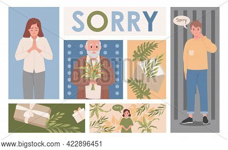 Men And Women Apologizing To Offended People Sending Excusing Gifts Vector Flat Illustration. Young