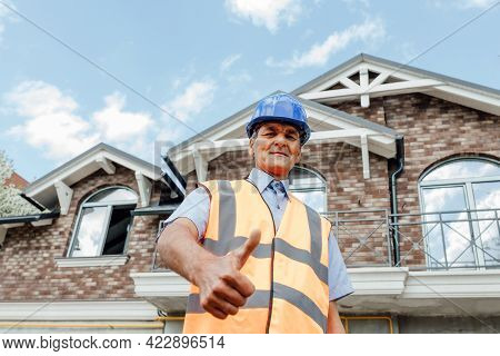 Thumb Up From Confident, Professional Asian Male Engineer, Civil Construction, Builder, Architect, W
