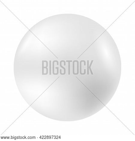 Ball White. Plastic Sphere On White Background. Realistic Shining Pearl. Isolated Light Circle. Grey