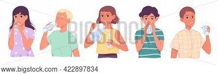 Kids Drinking Water, Children Drinks Water, Boys And Girls Quenching Thirst On White Background.