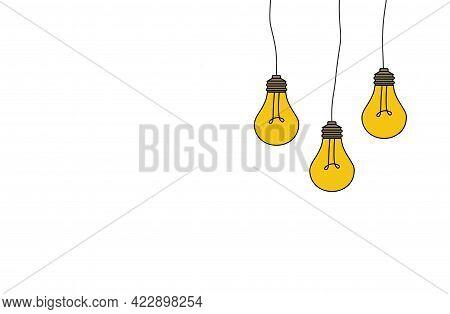 Idea Concept Background. Glowing Yellow Light Bulb As Inspiration Concept. Light Sign Ideas. Light B