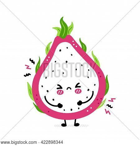 Cute Funny Sad Dragon Fruit. Vector Hand Drawn Cartoon Kawaii Character Illustration Icon. Isolated