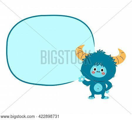 Cute Funny Yeti Monster Character With Comic Text Box. Vector Hand Drawn Cartoon Kawaii Character Il
