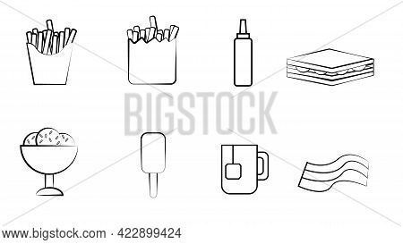 Black And White Set Of Eight Icons Of Delicious Food And Snacks Items For A Restaurant Bar Cafe On A