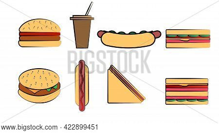 Set Of Eight Icons Of Items Of Delicious Food And Snacks For A Cafe Bar Restaurant On A White Backgr