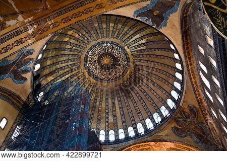 Hagia Sophia Is A Museum, Historical Basilica And Mosque In Istanbul. It Was Built By The Byzantine