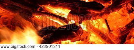 Hot Coals And Flames In Burning Campfire, Wood Burning