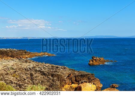 Atlantic Ocean Coast In Cascais Portugal . Rock Coastal Formation