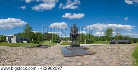 Khatyn, Belarus - 03 June 2021: Memorial Complex Khatyn,  Sculpture - The Unconquered Man. Symbol Of