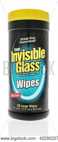 Winneconne, Wi - 29 May 2021:  A Bottle Of Invisible Glass Cleaner Wipes On An Isolated Background