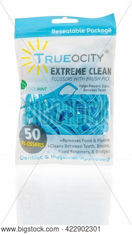 Winneconne, Wi - 29 May 2021:  A Package Of Trueocity Dental Floss Picks On An Isolated Background