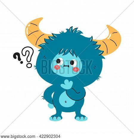 Cute Funny Yeti Monster Character With Question Marks. Vector Hand Drawn Cartoon Kawaii Character Il