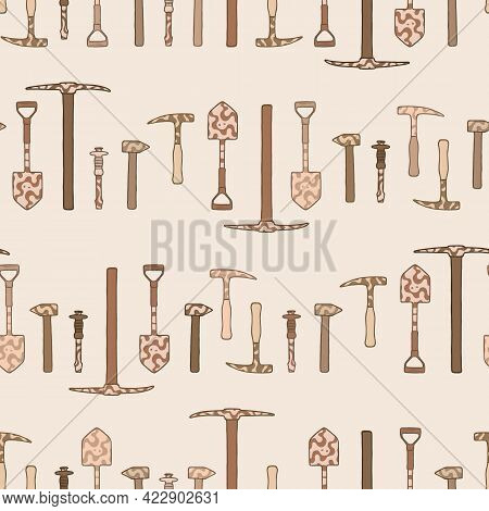 Vector Doodle Geological Tools Repeat Pattern. Brown Hand Drawn Hammer And Pick Seamless Background.
