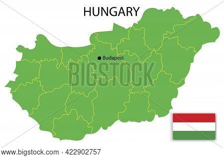 Hungary Territory Flag. Political Map. Banner Design. Travel Concept. Vector Illustration. Stock Ima