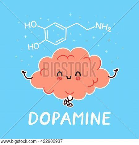 Cute Funny Human Brain Organ Character And Dopamine Formula. Vector Hand Drawn Cartoon Kawaii Charac