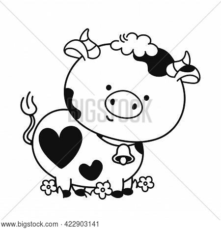 Cute Funny Cow. Vector Hand Drawn Cartoon Illustration Icon. Isolated On White Background. Cow Anima