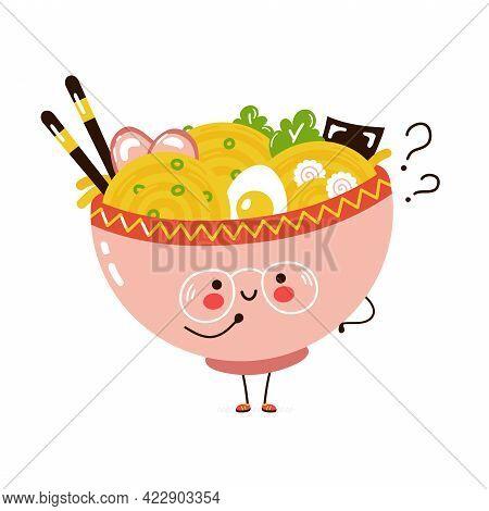 Cute Funny Ramen Bowl With Question Marks. Vector Hand Drawn Cartoon Kawaii Character Illustration I