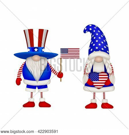 Male And Female Gnomes With American Flag Colors. American Independence Gnomes