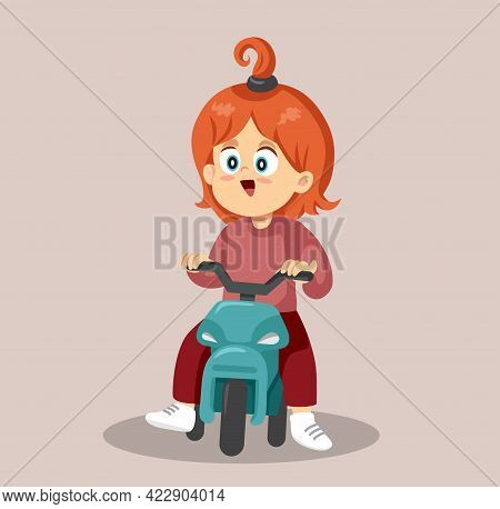 Happy Toddler Riding A Tricycle Vector Illustration