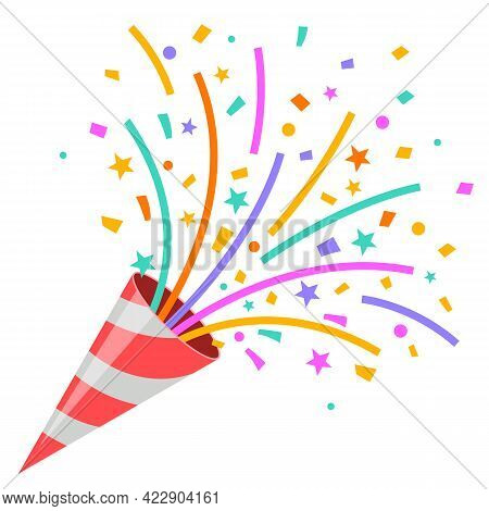 Exploding Party Popper On White Background,  Graphic On White Background.