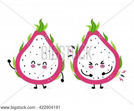 Cute Funny Sad And Happy Dragon Fruit. Vector Hand Drawn Cartoon Kawaii Character Illustration Icon.