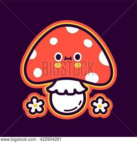 Cute Funny Happy Amanita Mushroom And Flowers. Vector Hand Drawn Cartoon Kawaii Character Illustrati