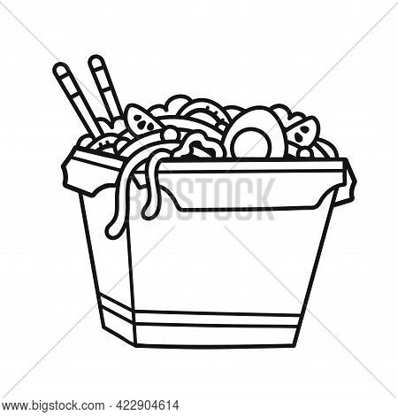 Wok Noodle Box. Vector Hand Drawn Cartoon Illustration Icon. Isolated On White Background. Wok Noodl