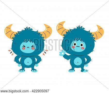 Cute Funny Sad And Happy Yeti Monster Character. Vector Hand Drawn Cartoon Kawaii Character Illustra