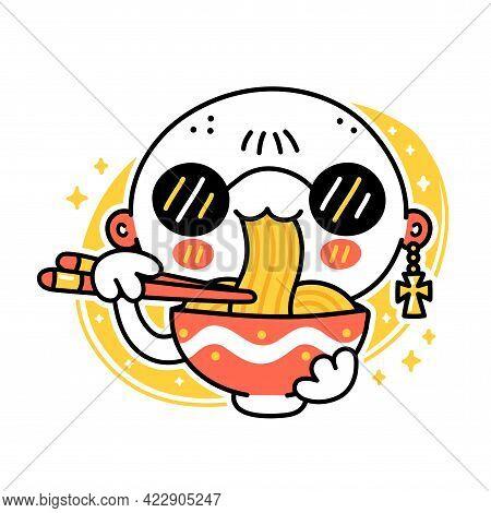 Cute Funny Man Eat Noodles From Bowl. Vector Hand Drawn Cartoon Kawaii Character Illustration Icon.