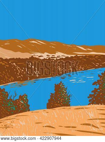 Wpa Poster Art Of Kings River In San Joaquin Valley Originating Along Sierra Crest In Kings Canyon N