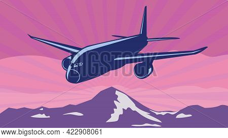 Wpa Poster Art Of A Jumbo Jet Plane Or Airplane Flying Over Mountains With Sunburst In Background Do