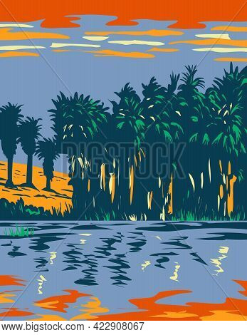 Wpa Poster Art Of Thousand Palms Oasis Preserve Also Often Referred To As The Coachella Valley Prese