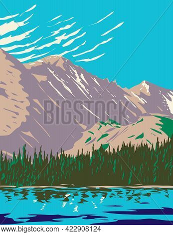 Wpa Poster Art Of Bear Lake In The Sheer Flanks Of Hallett Peak And The Continental Divide Within In