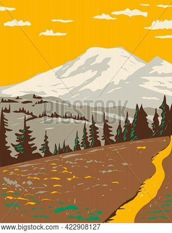 Wpa Poster Art Of Mount Rainier Viewed From Cowlitz Divide Along The Wonderland Trail Located In Mou