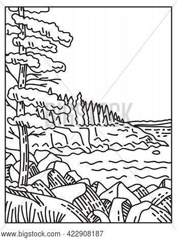 Mono Line Illustration Of Acadia National Park Along The Atlantic Coast On Mount Desert Island Locat