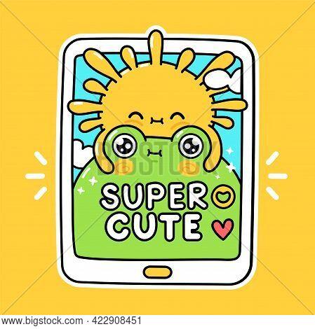 Cute Funny Sun Hugs Frog In Smartphone. Vector Hand Drawn Cartoon Kawaii Character Illustration Stic