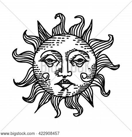 Sun With Face, Clouds And Stars In Aesthetic White Background. Magic Tarot Card, Celestial Bohemian