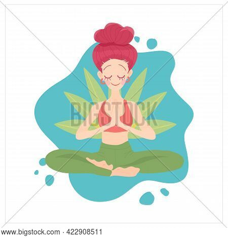 Vector Illustration Woman Doing Yoga Exercise. Girl In Yoga Lotus Pose With Floral, Practicing Yoga,
