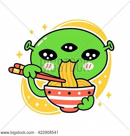 Cute Funny Eat Noodles From Bowl. Vector Hand Drawn Cartoon Kawaii Character Illustration Icon. Isol