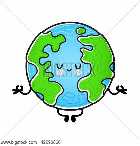 Cute Funny Happy Earth Planet Meditate In Yoga Pose. Vector Hand Drawn Cartoon Kawaii Character Illu