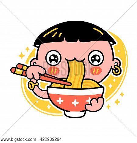 Cute Funny Boy Eat Noodles From Bowl. Vector Hand Drawn Cartoon Kawaii Character Illustration Icon.