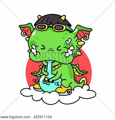 Cute Funny Dragon Smoke Weed With Bong. Vector Hand Drawn Cartoon Kawaii Character Illustration . Is